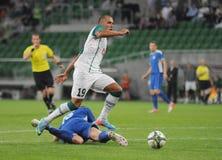 WROCLAW, ПОЛЬША - 18-ое июля: Лига Европы UEFA, Paixao в действии, Slask Wroclaw против Rudar Pljevlja 18-ого июля: , 2013 в Wrocl Стоковое Фото