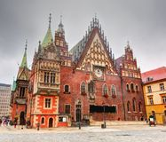 Wroclaw, Польша. Ратуша на рыночной площади Стоковое Фото