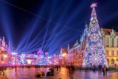 wroclaw 主要市场正方形在晚上 免版税库存照片