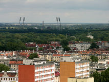 Wroclaw. View of Wroclaw city (Poland) with stadium spotlight Stock Image