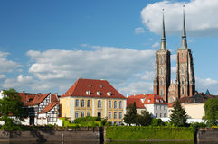 Wroclaw. Poland . View on the old city in Wroclaw.. Ostrow Tumski Royalty Free Stock Photos