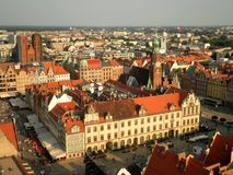 Wroclaw Aerial View. A beautiful aerial view of Wroclaw old town in Poland stock photography