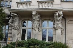 Wroclaw architecture detail of caryatids. Detail of caryatids on Wroclaw architecture near the river Oder stock images
