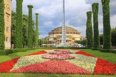 Wroclaw, arquitectura histórica Pasillo centenario, jardín público, Polonia Fotos de archivo libres de regalías
