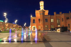 Wroclaw bij nacht stock afbeeldingen