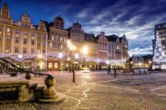 Wroclaw bij nacht, Polen stock fotografie