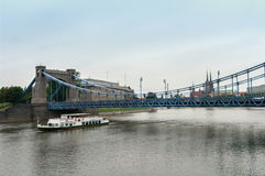 Wroclaw - the bridge and the ship on the river. Wroclaw Poland 21July2017 - the bridge and the ship on the river Royalty Free Stock Image