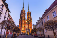 Wroclaw Cathedral at evening Stock Image