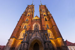 Wroclaw Cathedral at night Stock Photos