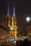 Wroclaw cathedral by night. Stock Image