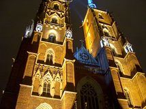Wroclaw Cathedral. One night in the cathedral island in Wroclaw,Poland stock photography