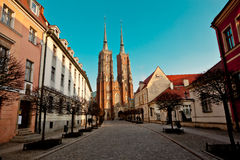 Wroclaw  cathedral ostrow tumski Stock Photos