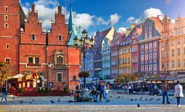 Wroclaw central market square with old colourful Stock Photos