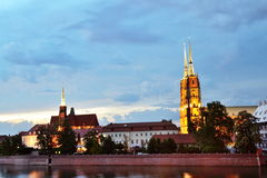 Wroclaw city by night Stock Image