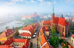 Wroclaw city in Poland top view Royalty Free Stock Images