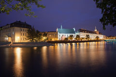 Wroclaw City Skyline by Night River View Royalty Free Stock Images