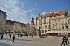 Wroclaw city street view Stock Photo