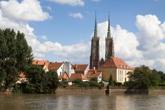 Wroclaw cityscape with a famous cathedral and the Odra river. Royalty Free Stock Photography