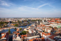 Wroclaw Cityscape in Poland. City of Wroclaw in Poland from above, Old Town at river Oder (Odra) on the first plan Stock Image