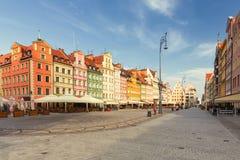 wroclaw de belangrijkste markt in de oude stad stock foto's