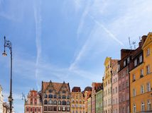 wroclaw de belangrijkste markt in de oude stad royalty-vrije stock afbeeldingen