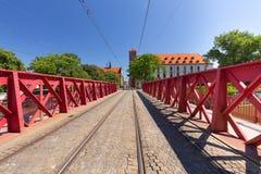 Wroclaw, de mening van de Zandbrug en historische architectuur royalty-vrije stock afbeeldingen