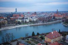 Wroclaw in de winter stock foto's