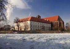 Wroclaw in de winter ostrow tumski Stock Foto's