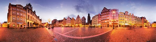 Wroclaw at dusk after sunset royalty free stock photography