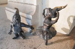 Wroclaw dwarf statue, Gnome. Wroclaw, Poland, 2018 royalty free stock photo