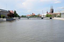 Wroclaw en Odra-rivier Royalty-vrije Stock Afbeeldingen