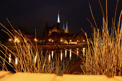 Wroclaw evening view of Cathedral Island Stock Photos