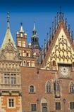 wroclaw för town för facadefragmentkorridor Arkivfoto