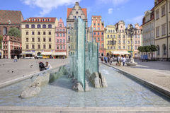 Wroclaw. The fountain in the Market Square Stock Images