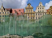 Wroclaw - fuente de cristal Imagen de archivo libre de regalías