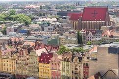 Wroclaw gammal marknadsfyrkant Arkivfoto