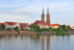 Wroclaw. Island Tumski at sunset Stock Photos