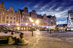 Wroclaw la nuit, Pologne Photographie stock