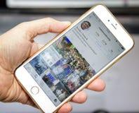wroclaw La POLOGNE 20, octobre 2016 : Compte d'Instagram de Donald Trump montré sur Iphone 6 plus, Photo libre de droits