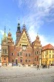 wroclaw Le bâtiment antique d'hôtel de ville Photos libres de droits
