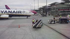 View from the plane window on Wizz Air and Ryanair planes stock video