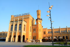 Wroclaw main railway station building at sunset. Stock Images
