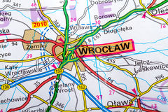 Wroclaw map. The city of  Wroclaw in detail on the map Royalty Free Stock Images