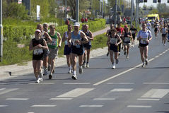 The Wroclaw marathon. Runners on the rout of the marathon Stock Photo