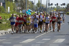 The Wroclaw marathon. Runners on the rout of the marathon Stock Images