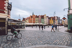 Wroclaw Market Square Panoramic View Royalty Free Stock Images