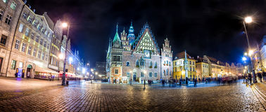 Wroclaw Market Square with Town Hall Stock Image