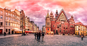 Wroclaw Market Square with Town Hall during sunset evening, Poland, Europe Stock Images