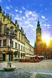 Wroclaw Market Square With Town Hall And Street Lantern Lamp Against Stunning Sunset Sky. Royalty Free Stock Photos