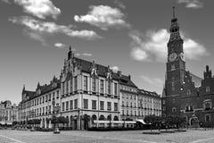 Wroclaw marknadsfyrkant med stadshuset Molnig himmel i historisk huvudstad av Silesia Polen, Europa arkivbild